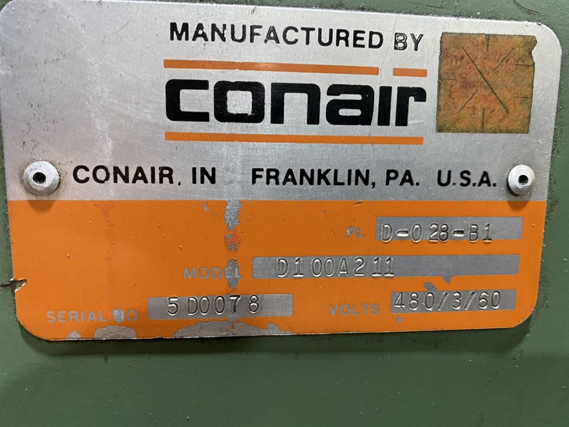 Lot 234 - Conair Franklin D100A211 Dryer, s/n 5D0078