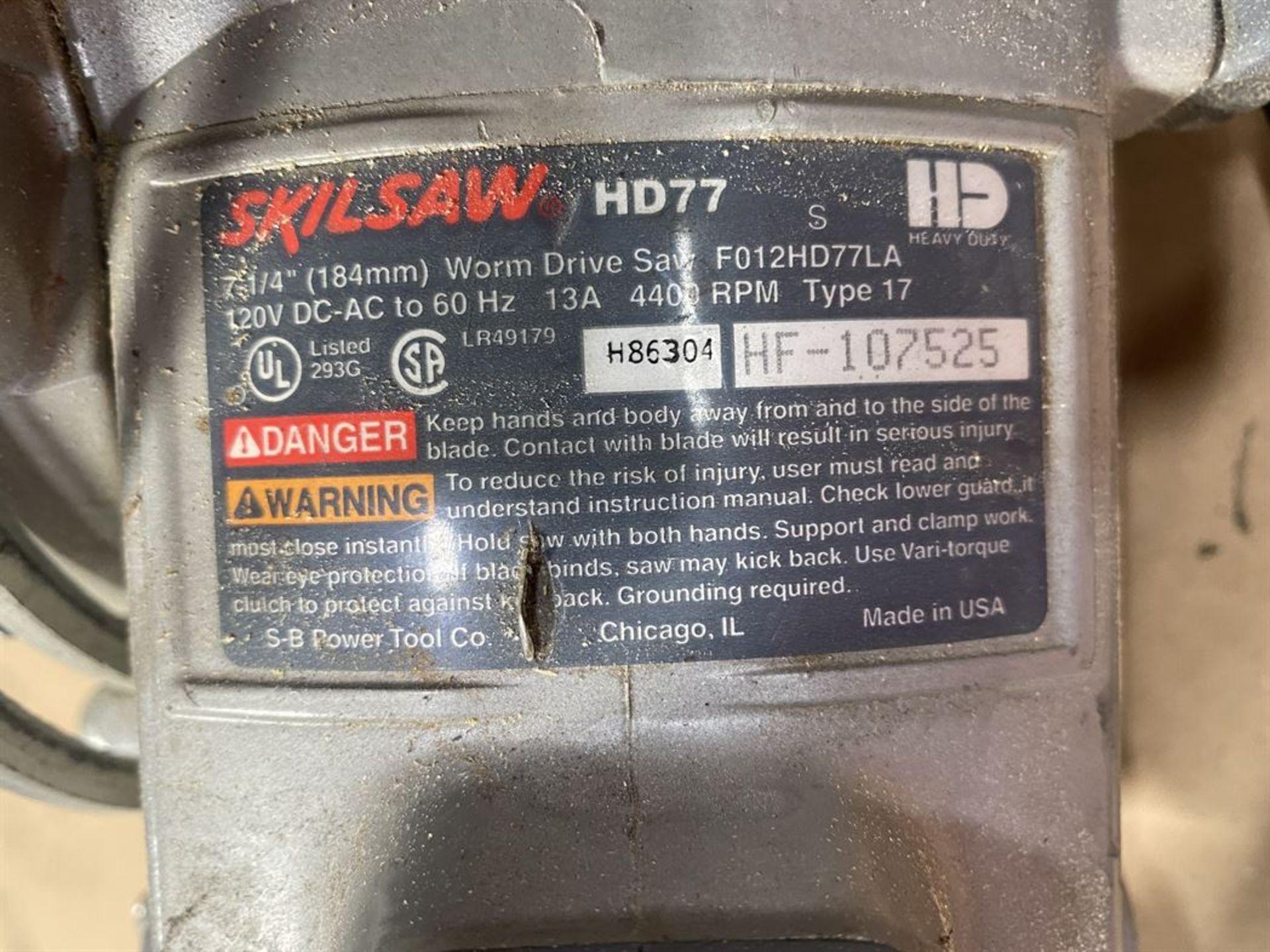 """Lot 30 - Skilsaw HD77 7-1/"""" Worm Drive Saw"""