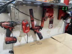 Lot Comprising Milwaukee 18V Drill Driver, 12V Screw Gun, (2) 12V Screw Driver w/ (3) Charger and