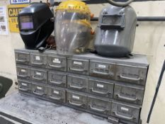 Shop Cabinet w/ Assorted Welding Accessories Including Rod, Abrasives and Helmets
