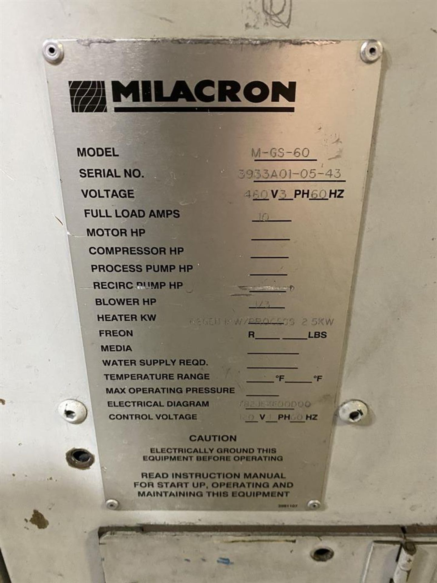Lot 224 - Cincinnati Milacron M-GS-60 Hopper Dryer System, s/n 3933A01-05-43, w/ Vacuum Loader