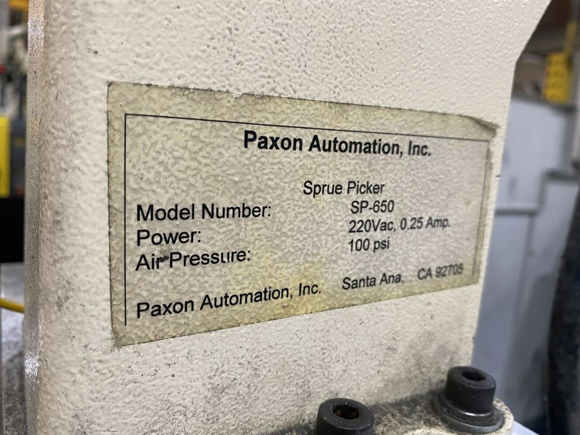 Lot 188 - Paxon Automation SP-650 Sprue Picker, s/n na