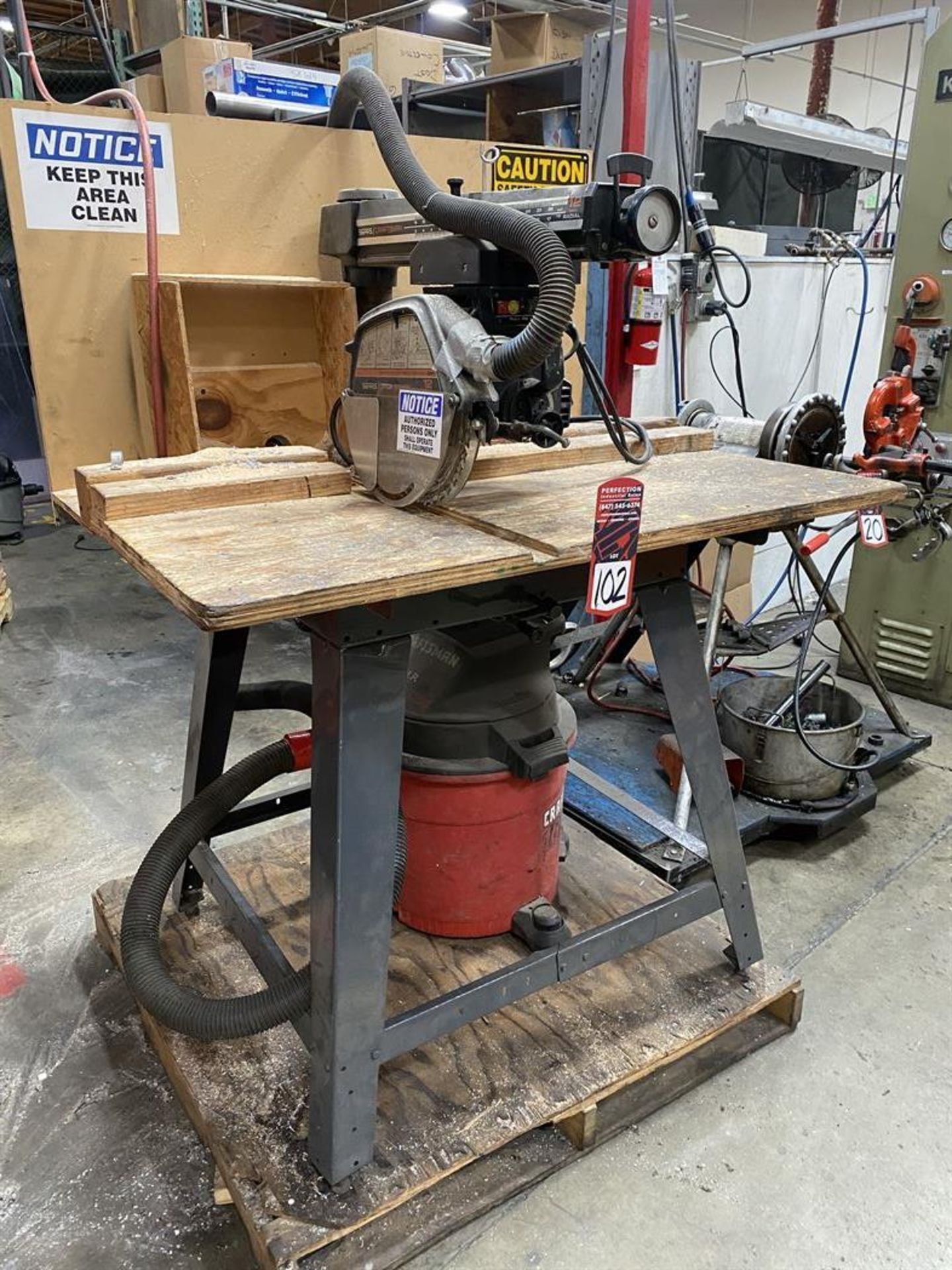 "Lot 102 - Craftsman 12"" Radial Arm Saw w/ Craftsman 16 Gallon Shop Vac"