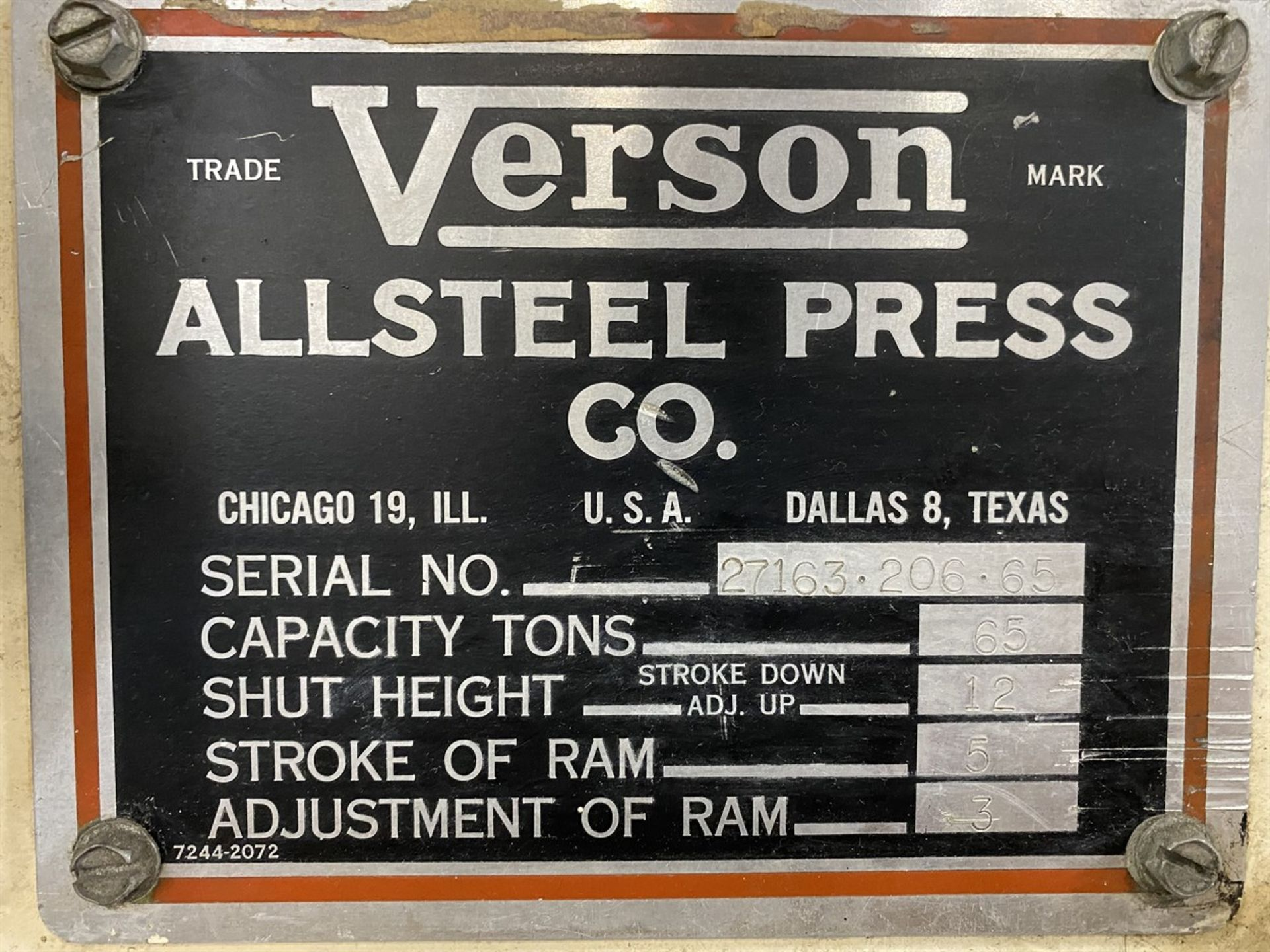"Lot 28 - VERSON 65 Ton Press Brake, s/n 27163.206.65, 12"" Shut Height, 5"" Stroke, 3"" Adj, 108""OA, 78"" Between"