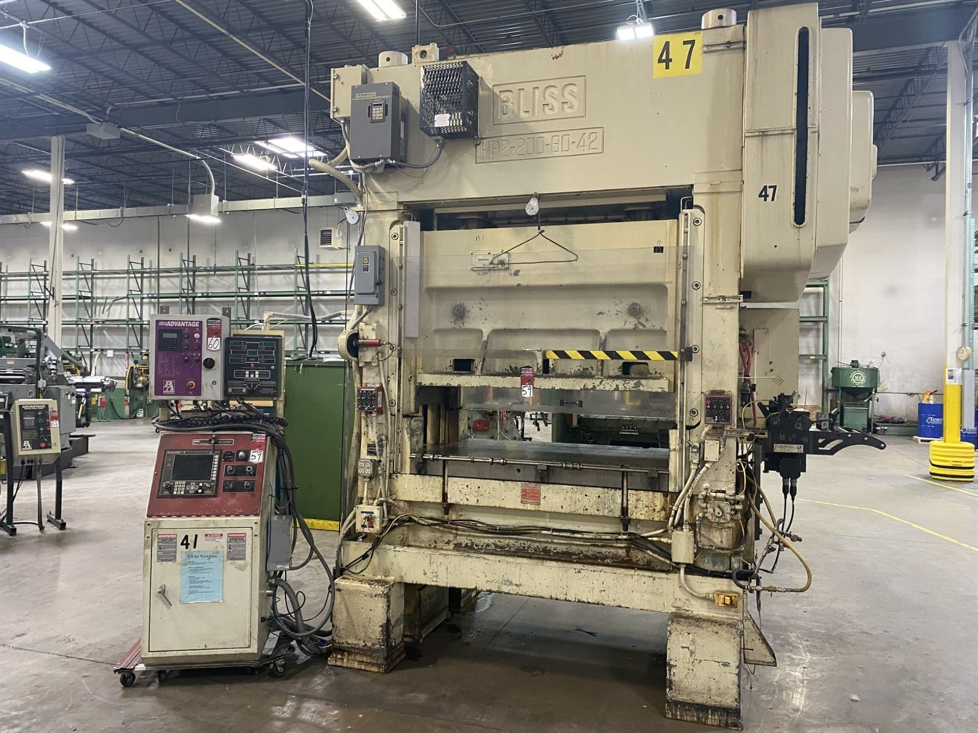 """Lot 59 - BLISS HP2-200-60-42 Straight Side Press, s/n H63044, 200 Ton Capacity, 60""""x 42"""" Bed, 2.5"""" Stroke,"""