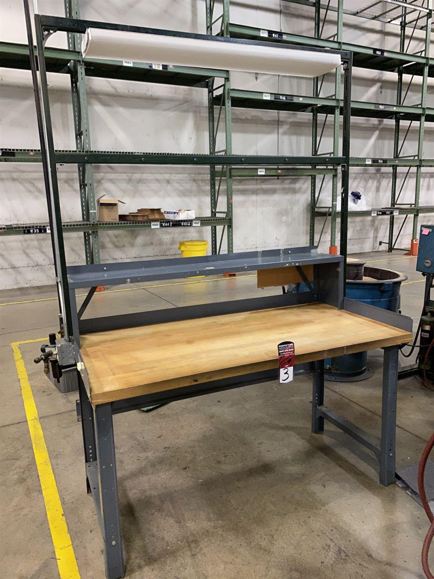 "Lot 3 - Wood Top Work Bench, 30"" x 60"", w/ Light"