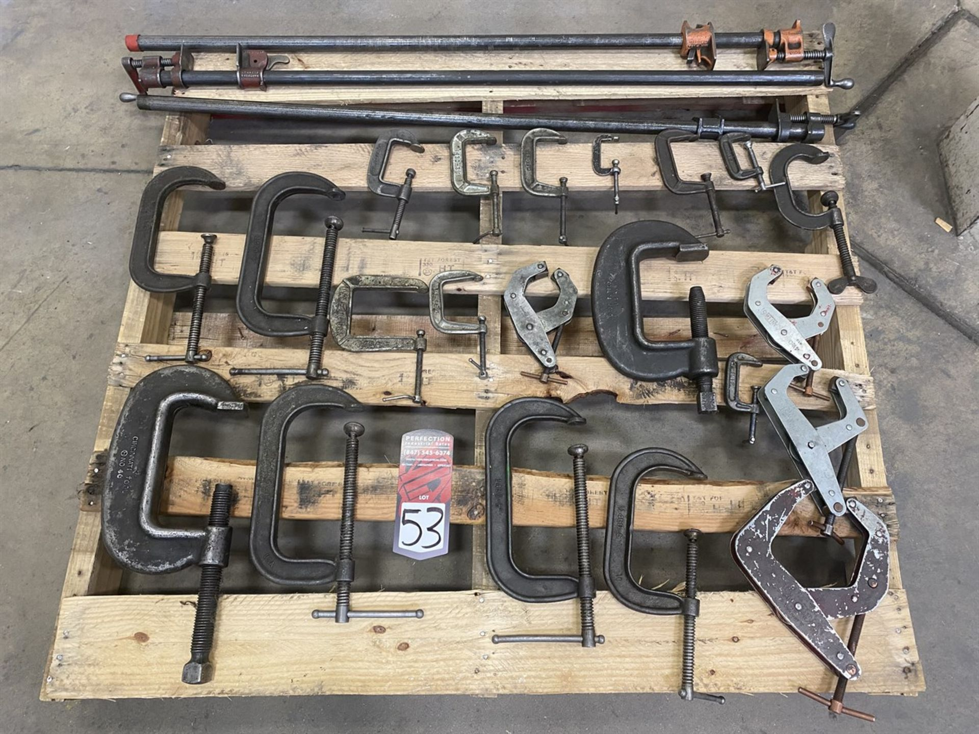 Lot 53 - Lot of Assorted C-Clamps and Bar Clamps