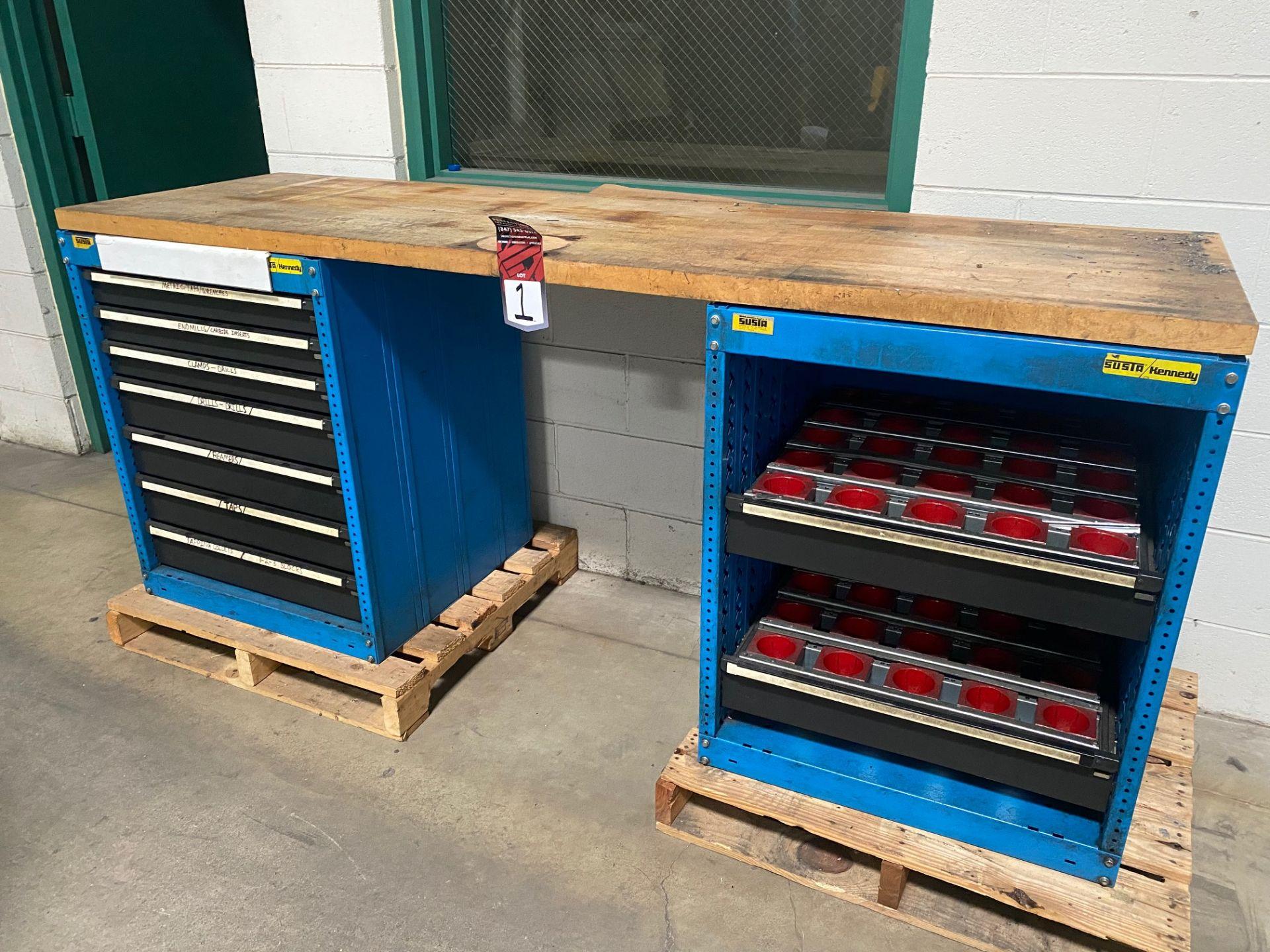 """Lot 1 - SUSTA/KENNEDY Wood Top Work Bench, 23.5"""" x 79"""" Top, w/ Ball Bearing Drawer Base"""