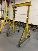 "1/2 Ton Rolling Gantry, 48"" Between Uprights x 90""H w/ CM ShopStar 600 Lb. Electric Hoist w/ Pendant"