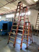 Lot of (3) Louisville Fiberglass Step Ladders, 12'/10'/6'