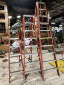 Lot Comprising 10' Louisville, 8' Werner, 6' Louisville Fiberglass Step Ladders