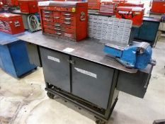 "Rolling Work Bench, approx. 26"" x 68"", Steel Top c/w 6"" Bench Vice & Contents (Hand Tools, Spare"