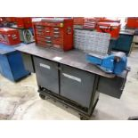 """Rolling Work Bench, approx. 26"""" x 68"""", Steel Top c/w 6"""" Bench Vice & Contents (Hand Tools, Spare"""