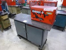 "Rolling Work Bench, approx. 24"" x 60"" c/w 4"" Bench Vice & Contents (Hand Tools, Spare Parts,"