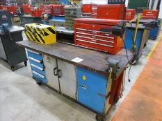 "Rolling Work Bench, approx. 30"" x 72"" c/w 4"" Bench Vice & Contents (Hand Tools, Spare Parts,"