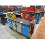 """Rolling Work Bench, approx. 30"""" x 72"""" c/w 4"""" Bench Vice & Contents (Hand Tools, Spare Parts,"""