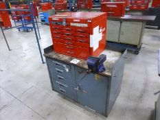 "Rolling Work Bench, approx. 24"" x 42"" c/w 4.5"" Bench Vice & Contents (Hand Tools, Spare Parts,"