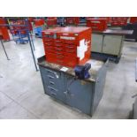 """Rolling Work Bench, approx. 24"""" x 42"""" c/w 4.5"""" Bench Vice & Contents (Hand Tools, Spare Parts,"""