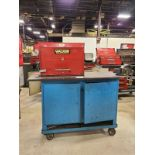 """Rolling Work Bench, approx. 24"""" x 60"""" c/w 4"""" Bench Vice & Contents (Hand Tools, Spare Parts,"""
