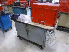 "Rolling Work Bench, approx. 24"" x 60"" c/w 4.5"" Bench Vice & Contents (Hand Tools, Spare Parts,"