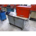 """Rolling Work Bench, approx. 24"""" x 60"""" c/w 4.5"""" Bench Vice & Contents (Hand Tools, Spare Parts,"""