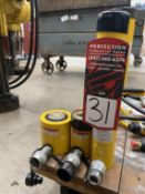 Lot Comprising ENERPAC RS201 20-Ton, ENERPAC RC102 10-Ton and ENERPAC RC1010 Hydraulic Jacks