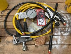 Lot of Hydraulic Hoses, Manifold and Enerpac GF-10P Gauge