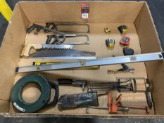 Lot of Assorted Tools Including Hand Riveters, Levels, Fish Tape, Saws, and Tape Measures
