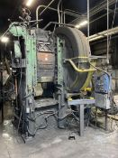 """ERIE 1000 TON MFP Forging Press, s/n 100658, 39"""" x 30"""" Bed, Dual Palm Buttons, Calico Automator"""