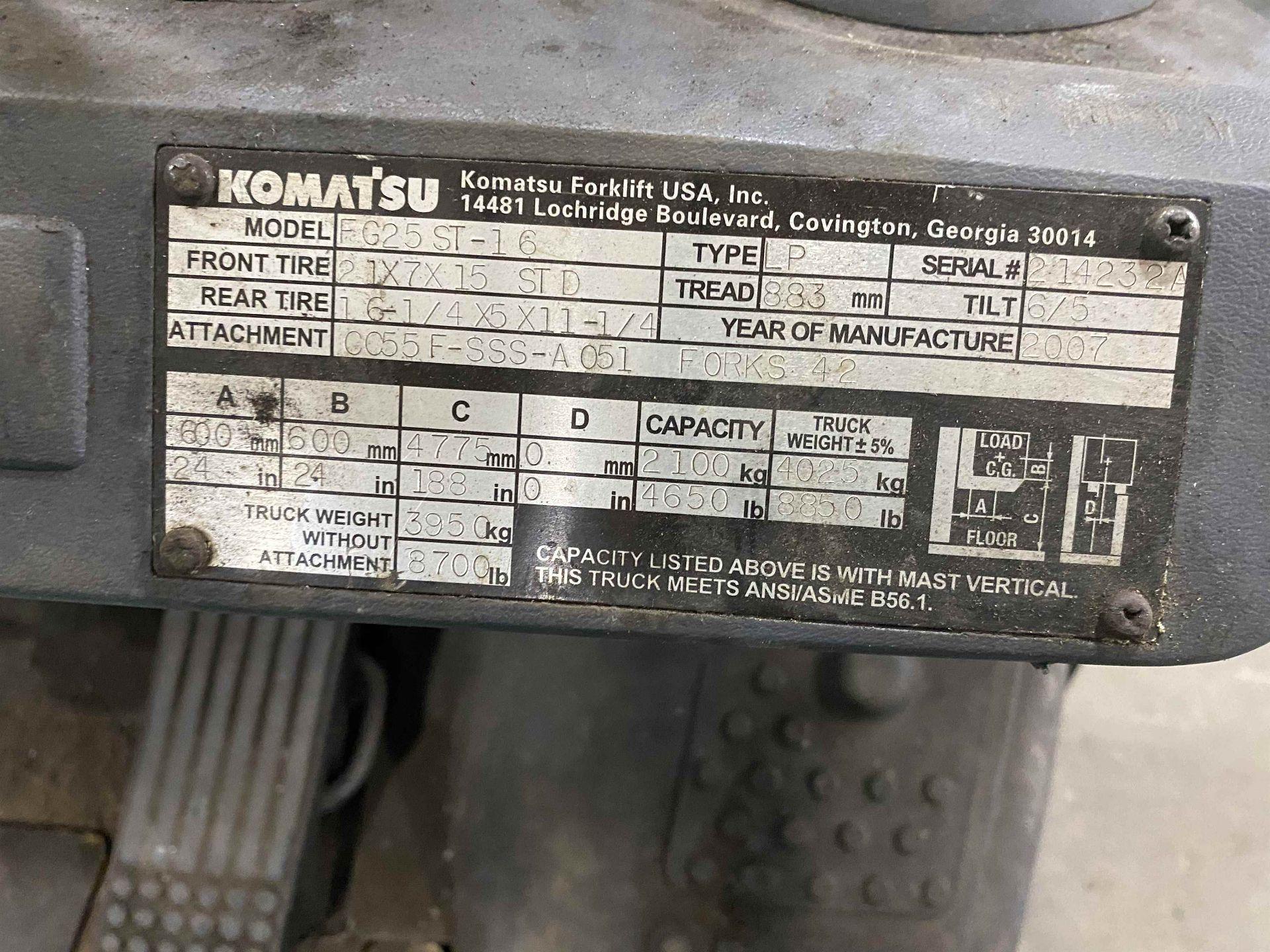 """KOMATSU FG25ST-16 5,000 Lb. LPG Forklift, s/n 214232A, Two-Stage Mast, Side Shift, 48"""" Fork - Image 6 of 7"""