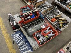 Lot of Assorted Hand Tools Including Tape Measures, Sockets, Grease Guns, Crimpers, Welding