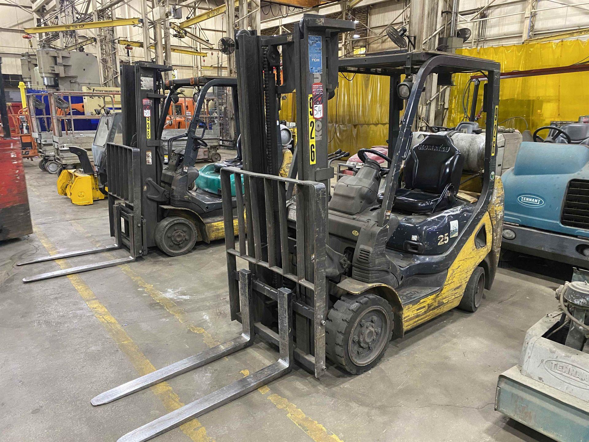 """KOMATSU FG25ST-16 5,000 Lb. LPG Forklift, s/n A234349, Two-Stage Mast, Side Shift, 48"""" Fork"""