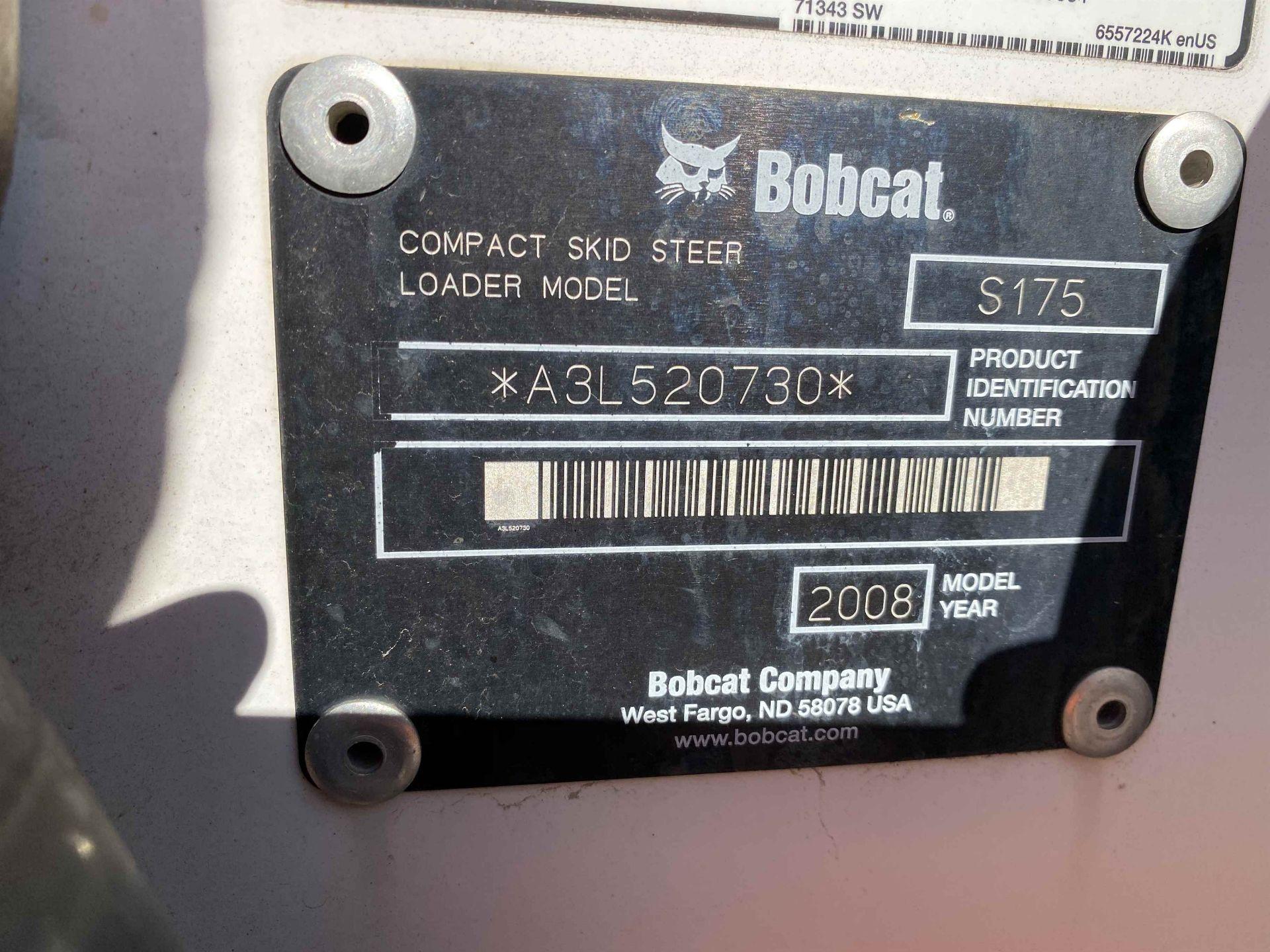2008 BOBCAT S175 Compact Skid Steer Loader, s/n A3L52070 - Image 6 of 6