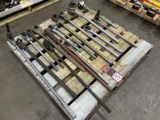Lot of Assorted Large Breaker Bars and Rachets