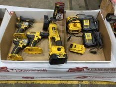Lot Comprising Assorted DEWALT 18v Battery Tools w/ Batteries and Chargers