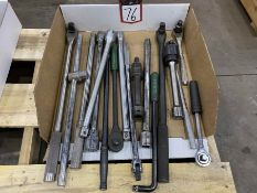 Lot of Assorted Breaker Bar, Extensions and Rachets
