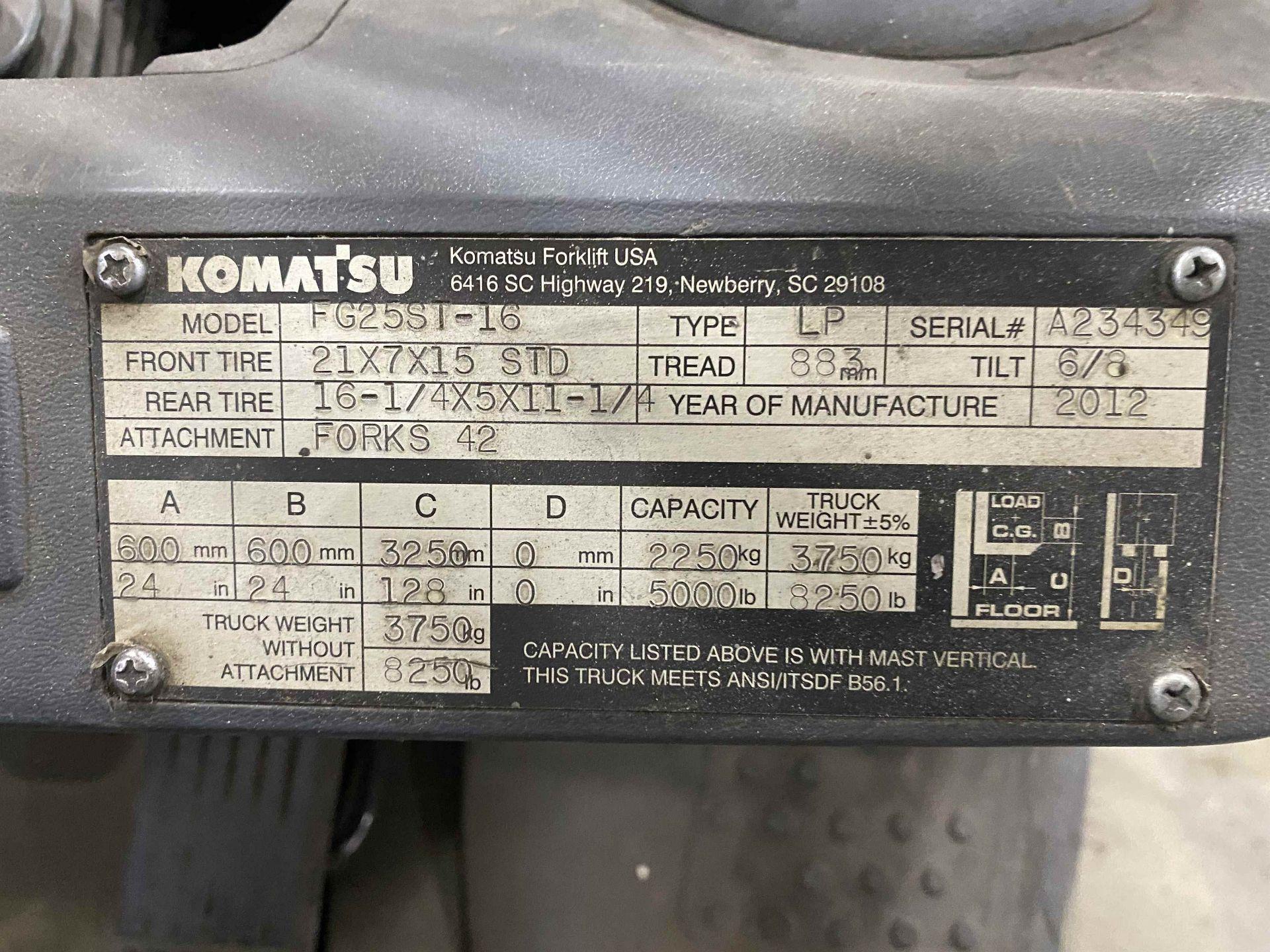"""KOMATSU FG25ST-16 5,000 Lb. LPG Forklift, s/n A234349, Two-Stage Mast, Side Shift, 48"""" Fork - Image 7 of 8"""