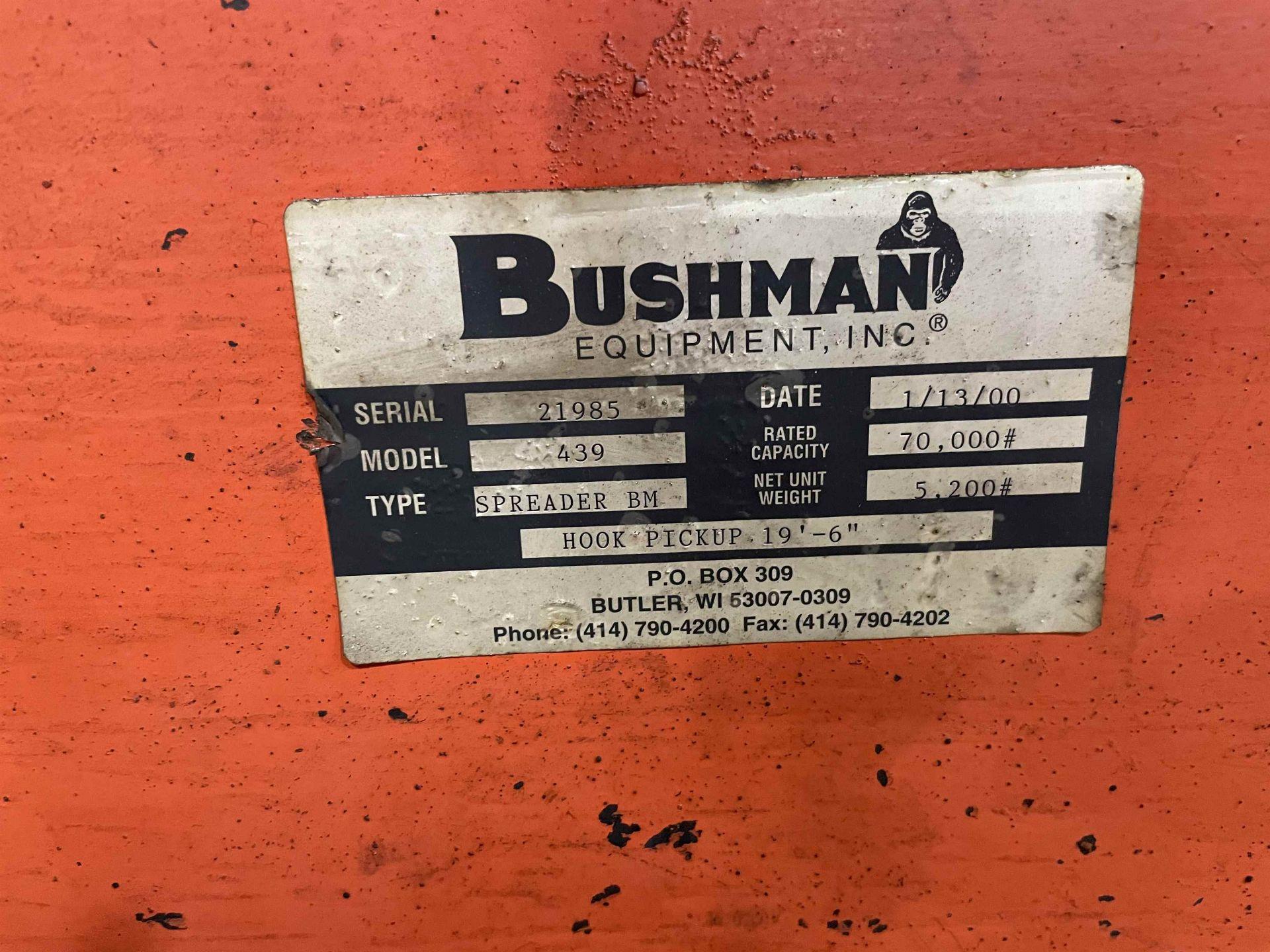 2000 BUSHMAN 439 35-Ton Spreader Beam, s/n 21985, 20'L - Image 3 of 3