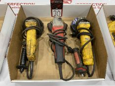 "Lot Comprising (2) DEWALT 4-1/2"" Grinders and (1) MILWAUKEE 5"" Grinder"