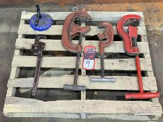 Lot Comprising RIDGID 4P-J & 65-R Pipe Threaders, Tri Stand and Assorted Pipe Cutters w/ Pipe Wrench
