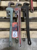 "Lot of (2) RIDGID 24"" Pipe Wrenches and (1) JONNESWAY 24"" Pipe Wrench"