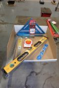 Lot Comprising (2) Carpenter Squares; Rafter Layout Square; (2) Levels; STARRETT Angle Meter