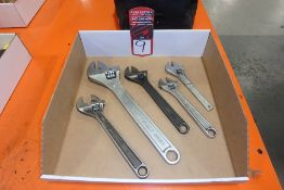 Lot Comprising (5) Adjustable Wrenches