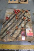 "Lot Comprising (6) Pipe Clamps; (1) 3/4"" Pipe Clamp Fixture"