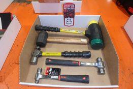 Lot Comprising (1) Dead Blow Hammer; (1) Rubber Mallet; (3) Ball Peen Hammers