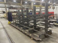 (3) Cantilever Racks w/ Flat Stock and Material Rack w/ Perforated Steel