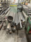 Material Rack w/ Assorted Steel Tubing and Round Stock
