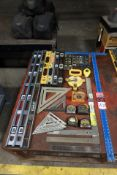 Lot Comprising Assorted Rules, Levels, Squares, T-Square, Angle Meters, Chalk Line, Tape Measures,