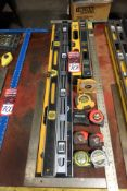 Lot Comprising Assorted Rules, Levels, Squares, T-Square, Angle Meters, Tape Measures, Flash