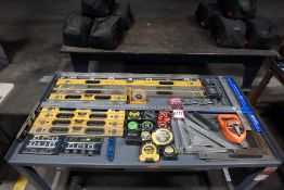 Lot Comprising Assorted Rules, Levels, Squares, T-Squares, Angle Meters, Chalk Line, Tape